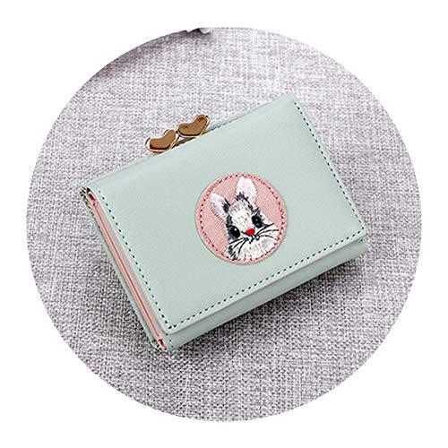 Women Wallet Rabbit Cloth Stickers Folder Cute Short Coin Purse,Green
