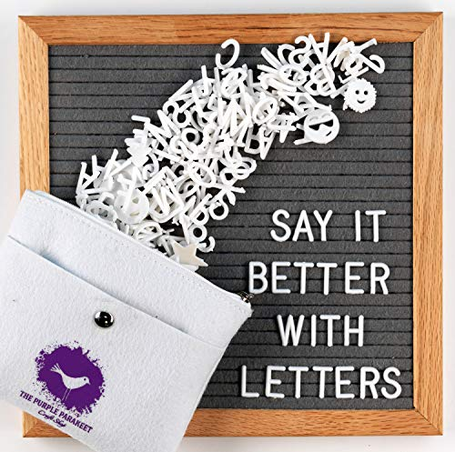 (Letter Board - Gray Felt Letter Board 10x10 with 340 Letters - Solid Oak Frame, Stand, Felt Bag, Scissors - for Home Decor, Offices & Cafes - Perfect for Special)