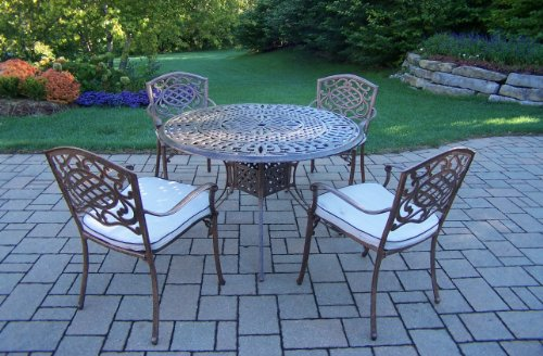 Oakland Living Mississippi 5 Piece Set With 48 Inch Capital Table And 4 Stackable Chairs  All None Rust Cast Aluminum And 4 Cushions