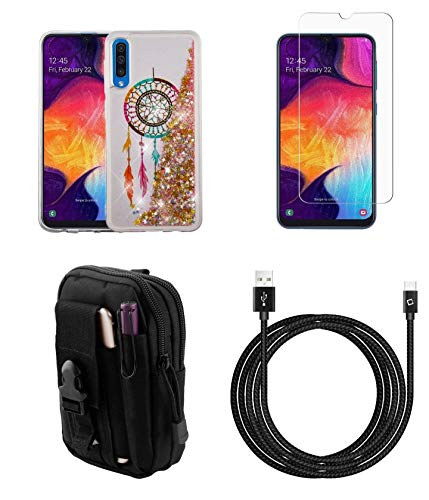 Bemz Liquid Quicksand Bundle Compatible with Samsung Galaxy A50 Case Glitter Bling Protector Cover (Dreamcatcher) with Screen Protector, Tactical Travel Pouch, Nylon Braided USB Type-C Cable (10 Feet)