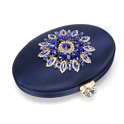 Clutch Blue Wedding Floral VESIA for Bag Dressing Diamante Handbag Burgundy Oval Formal Party Evening Prom X6gfPB