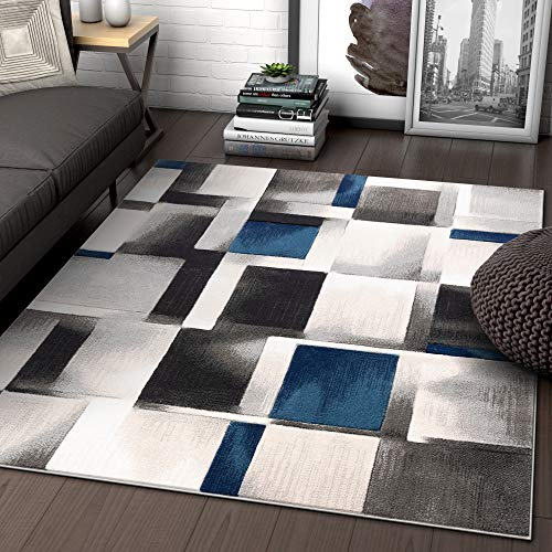 (Well Woven Lane Blue Modern Geometric Boxes & Squares Pattern Area Rug 5x7 (5'3