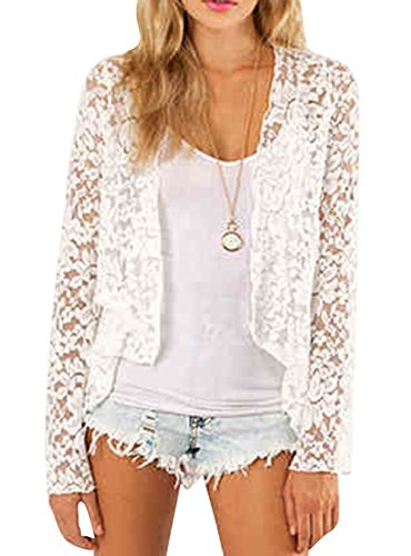 Smss Women's Spring Fashion See Through Lace Open Front Shawl Cardigan White-L