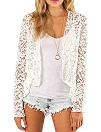 Women's Spring Fashion See Through Lace Open Front Shawl Cardigan White