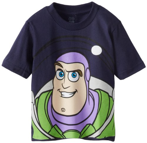 Disney Little Boys' Toddler Buzz Lightyear and Woody Big Face Toy Story T-Shirt, Navy, 5T