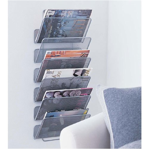 Amazon.com: Design Ideas Wall Works Magazine Rack, Large, Silver: Home &  Kitchen