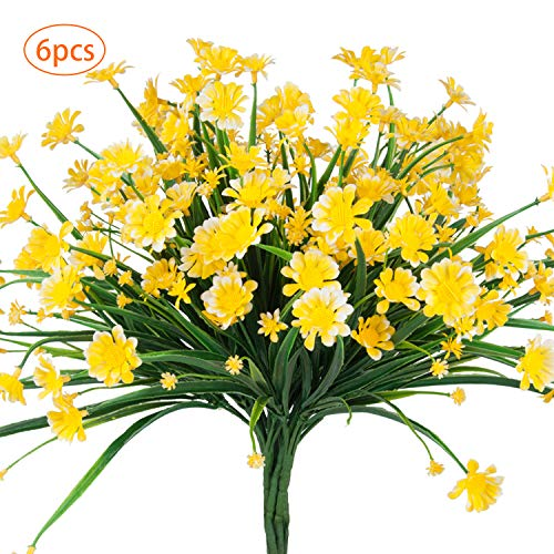 6 Bundles Artificial Flowers Fake Outdoor UV Resistant Plants Daisy Faux Plastic Greenery Shrubs for Indoor Outside Hanging Planter Home Kitchen Office Wedding Garden Patio Decor (Yellow)