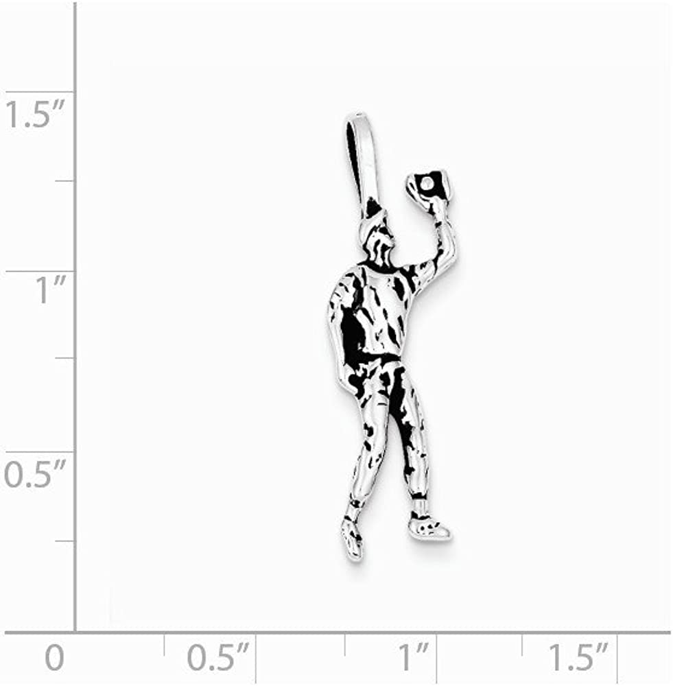Solid 925 Sterling Silver Vintage Antiqued Baseball Player Charm Pendant