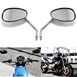 10MM Chrome Motorcycle Handlebar Rearview Side Mirrors For Honda Kawasaki Suzuki Cruiser Scooter
