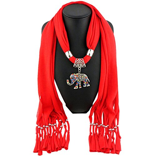 Witspace Women Elephant Pendant Scarf With Tassel Rhinestone Jewelry Scarves (Red)