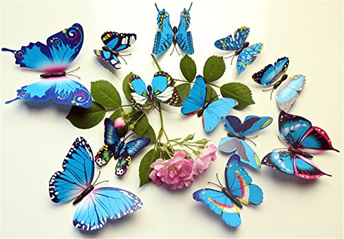 12 PCS 3D Blue Color Butterfly Stickers DIY Mural Art Decal Wall Stickers Crafts Wall Paper Decor