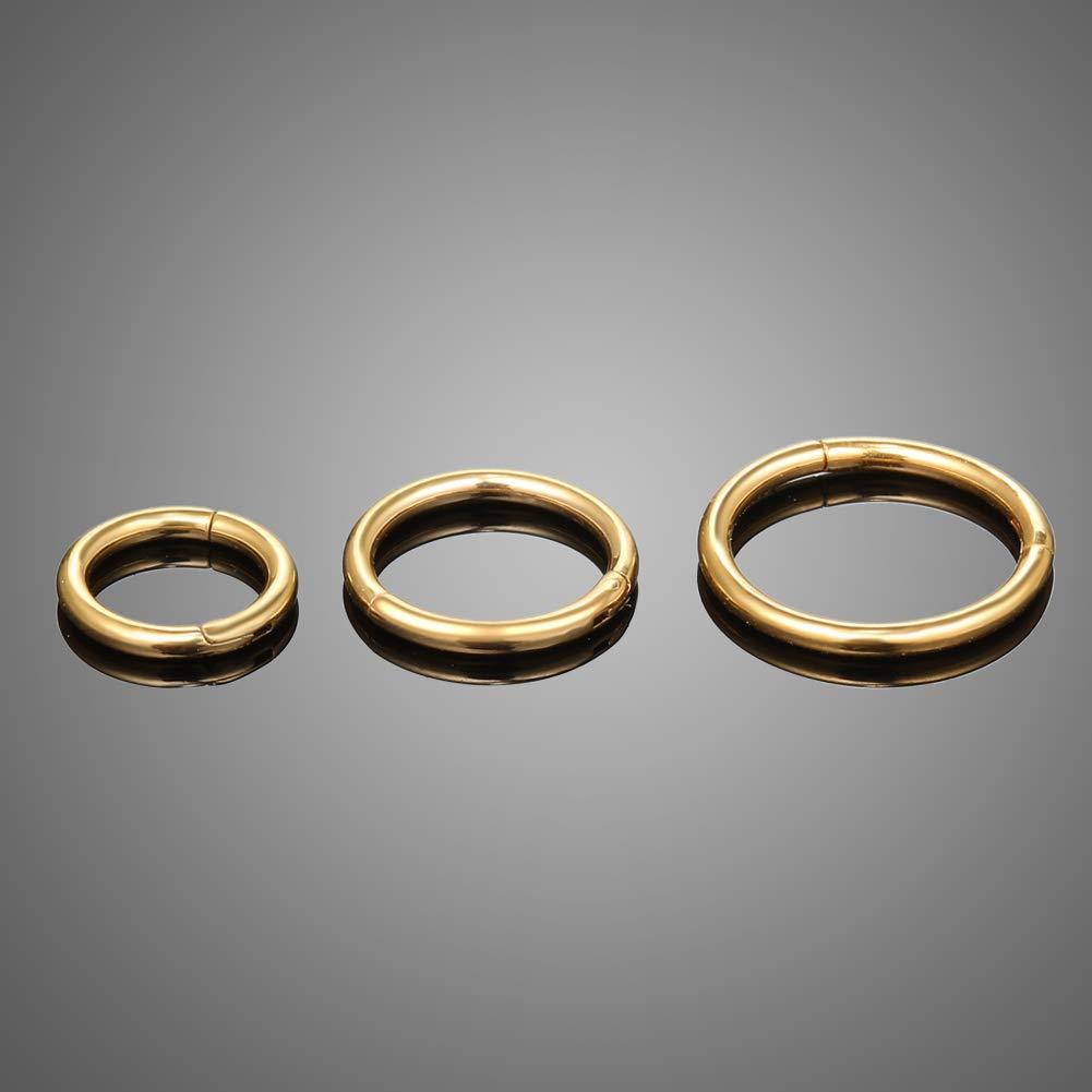 Jusway Hoop Earrings Nose Rings Lip Earrings Septum Jewelry 6mm 8mm 10mm Hinge Titanium Daith Earring 3pcs