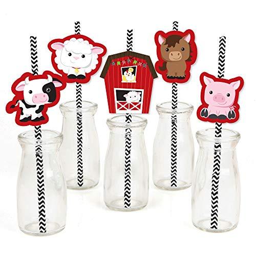 Farm Animals Paper Straw Decor - Baby Shower or Birthday Par