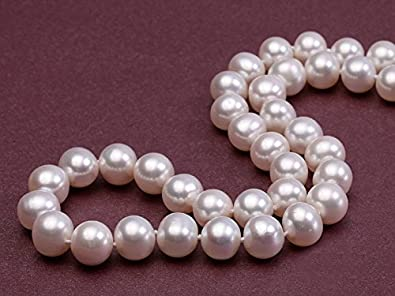 JYX Pearl AAA Classic Round White Freshwater Pearl Necklace for Women Princess Length 18