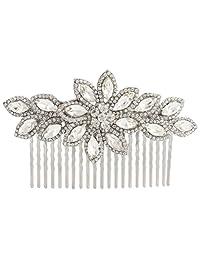 Ever Faith Wedding Flower Hair Comb Clear Austrian Crystal Silver-Tone N03438-1