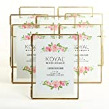 Koyal Wholesale Pressed Glass Floating Photo Frames 8-Pack with Stands for Horizontal or Vertical Pictures, Table Numbers, Place Cards (Gold, 5 x 7)