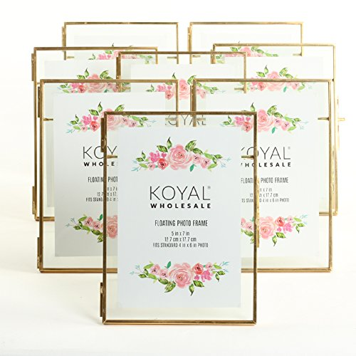 Cheap Gold Frames (Koyal Wholesale 8-Pack Pressed Glass Floating Photo Frames 5 x 7 with Gold Stands for Horizontal or Vertical Pictures, Table Numbers, Place)