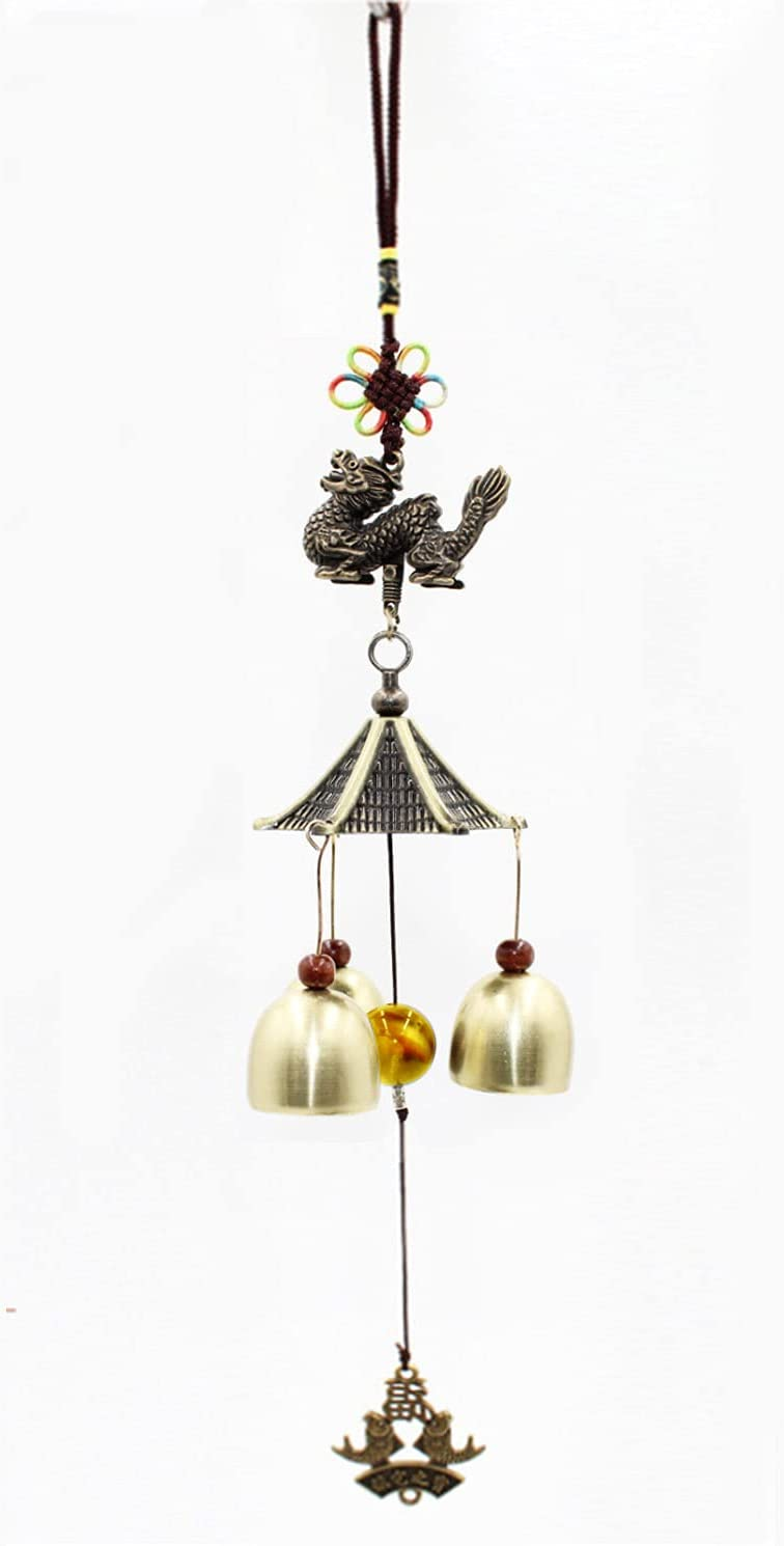 Mose Cafolo Lucky Feng Shui Wind Chimes 3 Bells Makes Beautiful Sounds with 3D Asian Dragon on Top for Garden Patio Hanging Decoration