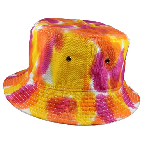 (Gelante 100% Cotton Packable Fishing Hunting Sunmmer Travel Bucket Cap Hat (Small/Medium, Tie Dye Color: G))