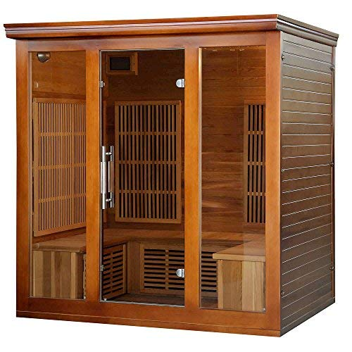 Heat Wave Elite 4 Person Sauna FAR Infrared Red Cedar Wood 9 Carbon Heaters 2410 Watt 20 amp Bluetooth - Color Light Therapy