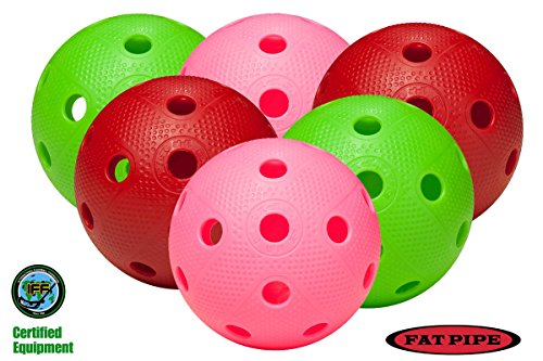 FAT PIPE Floorball / Unihockey Ball 6er Set, Color Mix