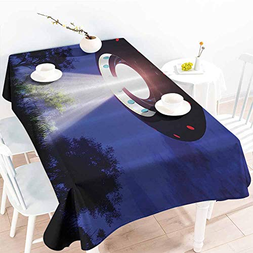 Homrkey Polyester Tablecloth Space Jupiter Neighbors Outer Space UFO Aliens Spaceship Extra Terrestrial Theme Astronomy Gifts Blue Black White Washable Tablecloth W52 xL72