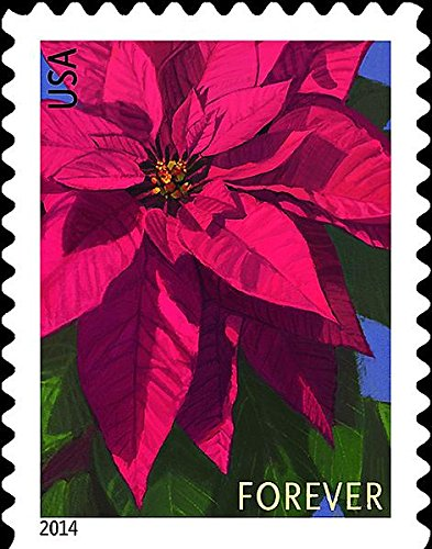 USPS Poinsettia Forever Postage Stamps -- Booklet of 20 (2017 Stamps For Christmas Postage)