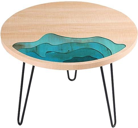Fyong Table D Appoint Ronde Table Basse En Bois Massif Et Resine