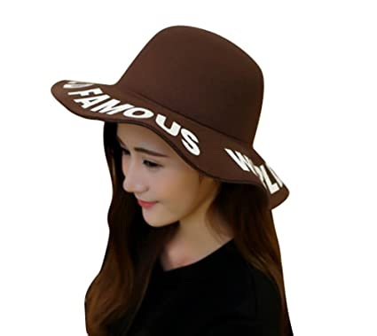7428e4360e885e SHINA Fashion Vintage Women Ladies Floppy Wide Brim Fedora Sun Hat (brown):  Amazon.co.uk: Clothing