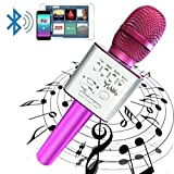 Handheld Wireless Karaoke Microphone, YUWO Mini Bluetooth Handheld Speaker, Portable Stereo Player for Music Playing, Mini Home KTV Karaoke for Apple, Iphone, Android Smartphone or PC. (PINK)