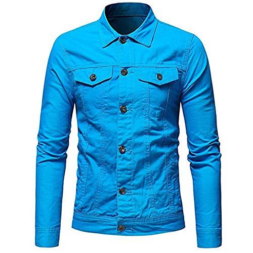 Uomo Con Camicia Denim Da Blu Cappuccio Cielo Casual Tuta Sportiva Famesale In Giacca qYAUwx1I