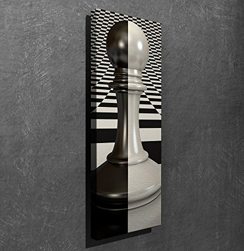 LaModaHome Game Canvas Wall Art - Hybrid Pawn in Chest Game, Black and White, Checkmate - Wooden Thick Frame Painting, Size (12