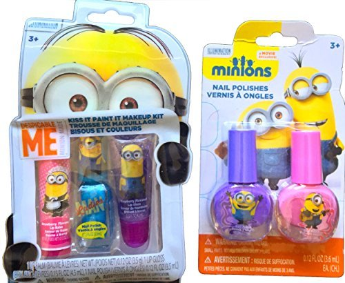 Minions Movie Exclusive Nail Polishes Set and Minions Kiss It, Paint It, Makeup Kit Inlcudes Lip Gloss , Nail Polish and Lip Balm -