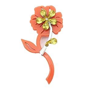2016 new fashion jewelry acrylic crystal blue orange small flower brooch for women (Orange)
