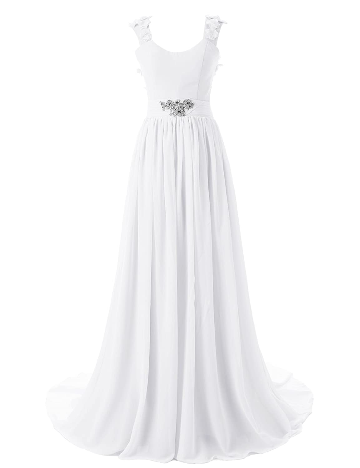 Dressystar Bodenlanges elegantes Ballkleid fashion Brautjungkleid Chiffon Elfenbein in Gr??e 50W