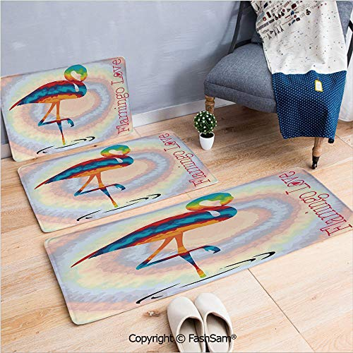 FashSam 3 Piece Flannel Bath Carpet Non Slip Single Flamingo Rainbow Colors Tie Dye Style Background Animal World Artwork Print Front Door Mats Rugs for Home(W15.7xL23.6 by W19.6xL31.5 by ()