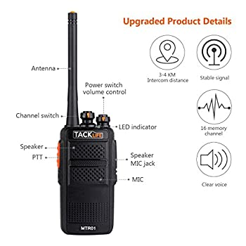 Tacklife Mtr01 Advanced Two-way Radio With Rechargeable 1300mah Li-ion Battery Uhf 400-470mhz Transceiver Earphone Long Working Distance 16 Channels Walkie Talkie | 2 Pcs 1