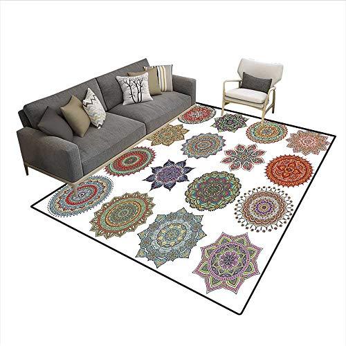 Ethnic Oriental Lotus Mandala Pattern Art Forms Mystical Concept,Indoor Outdoor Rug,Multicolor 6'6