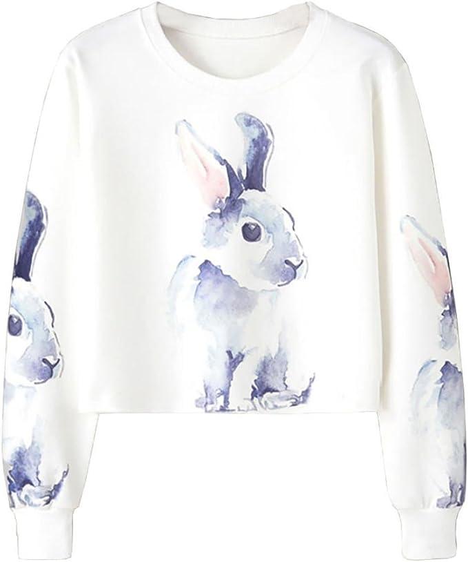 Blusas Mujer Moda 2017 Manga Larga Koly Ropa Mujer Oferta Casual Camisetas Blusas Elegantes de Fiesta Niña Conejo Impresión Cultivo Saltador Pullover Camisa Entrenamiento Tops (XL, Blanco): Amazon.es: Ropa y accesorios