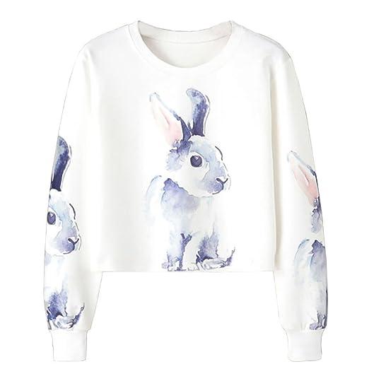 Blusas Mujer moda 2017 manga larga Koly Ropa mujer oferta casual Camisetas Baratas Blusas elegantes de Fiesta Niña Conejo Impresión Cultivo Saltador ...
