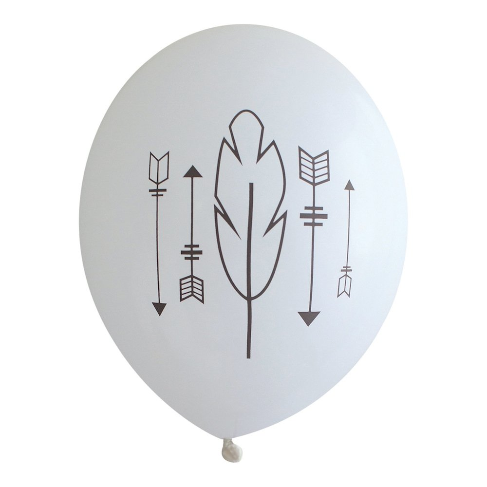 Gray Arrows and Feather Boho Tribal Latex Party Balloons, made in America by REVEL & Co