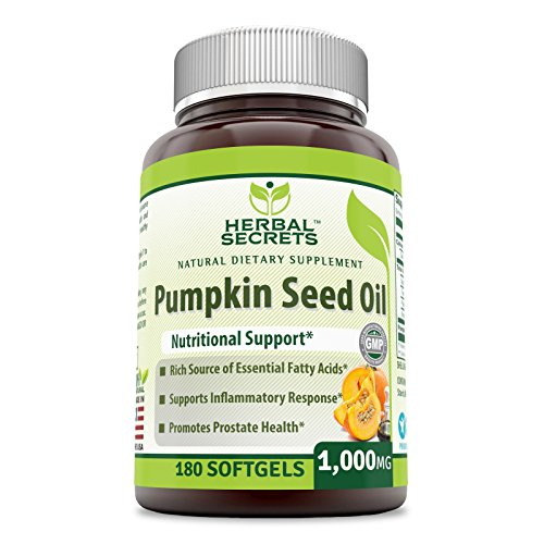 Herbal Secret's Pumpkin Seed Oil 1000 Mg, 180 Softgels - Rich Source of Essential Fatty Acids - Supports Inflammatory Response -Promotes Prostate Health -