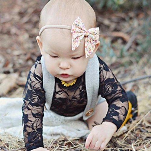 Omiky® Neugeborenes Baby Mädchen Solid Lace Kleid Floral Strampler Ärmel Playsuit Kleidung Outfit Schwarz