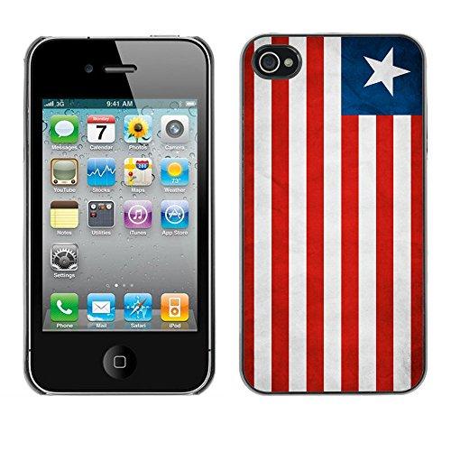 Omega Case PC Polycarbonate Cas Coque Drapeau - Apple iPhone 4 / 4S ( Liberia Grunge Flag )