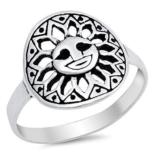 Aztec Design Filigree Sun Cutout Ring New .925 Sterling Silver Band Size 7