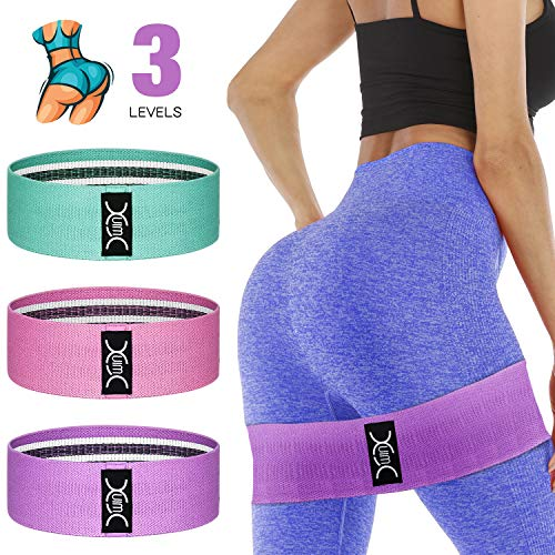 YXwin Exercise Resistance Bands Hip Booty Bands Stretch Workout Bands- Cotton Resistance Band for Legs and Butt Body, Yoga Pilates Muscle Gym Training (3 Pack)