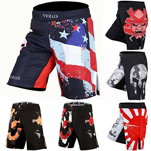 (Verus Men's Mixed Martial Art Shorts (Red/Navy,)