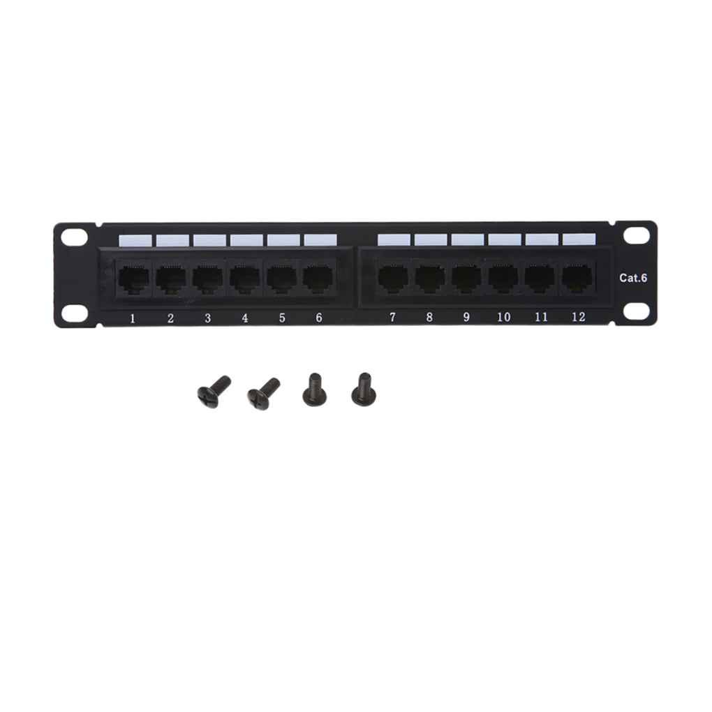 Xuanhemen GL-4013 12-Port Twisted Pair Patch Panel 10 Inch Cat6 Network Wall Mount Surface Patch Panel With 4 Screws