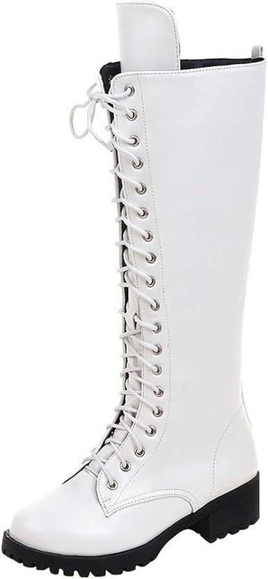 Botas Altas para Mujer Botas De Estilo Militar Medio De Moda Botas De Cordones Y Rodilleras Vintage para Mujer Botas Talla Grande Zapatos Motos Botas jorich (Blanco Alto, EU:43 26.5cm/10.4