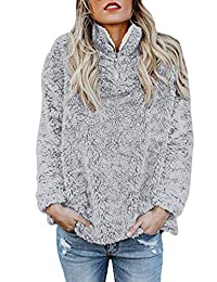 SOMTHRON Women's Fleece Outerwear Parka Coat Fuzzy Sherpa Pullover Cardigan Sweater